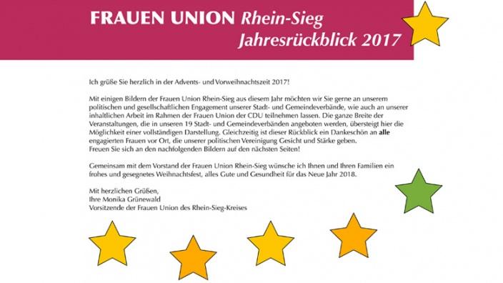 Jahresrückblick 2017 der Frauen Union Rhein-Sieg