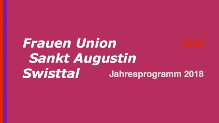 Frauen Union Sankt Augustin und Swisttal: Jahresprogramme 2018 mit tollen Angeboten