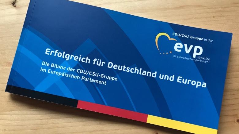 Infobroschüre der CDU/CSU-Gruppe in der EVP-Fraktion: Erfolgreich für Deutschland und Europa