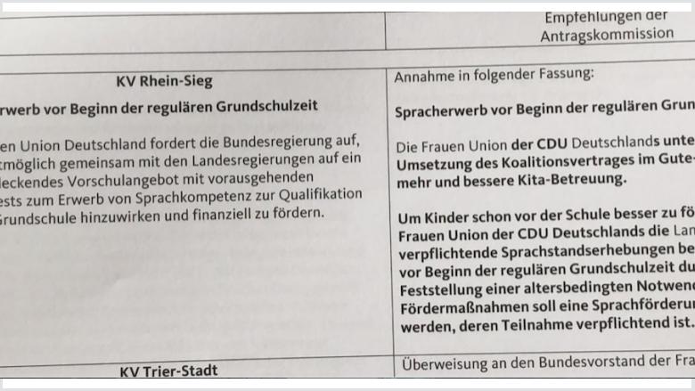 Antrag der Frauen Union Rhein-Sieg zum Thema Sprachkompetenz beim Eintritt in die Grundschule