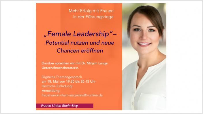 """Herzliche Einladung: 18. Mai um 19.30 Uhr """"Female Leadership"""" mit Dr. Mirjam Lange"""