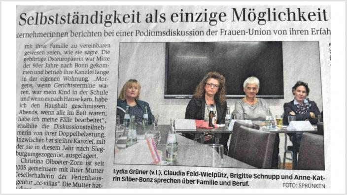 Podiumsdiskussion mit selbständigen Unternehmerinnen in Sankt Augustin